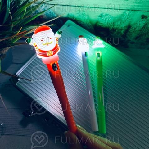 Ручки с фонариком Новогодние Дед Мороз, Ёлка, Снеговик набор 3 штуки
