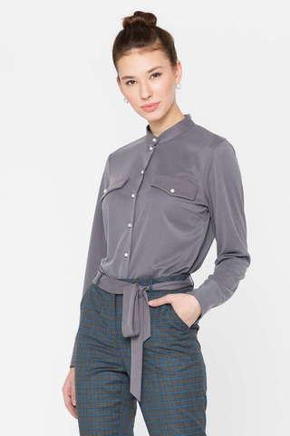 Фото серая блузка с карманами-обманками и пуговицами спереди - Блуза Г689а-758 (1)