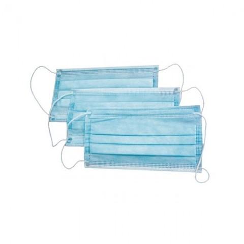 Маска 3х-слойная на резинках (голубой, 50 шт./упк.)