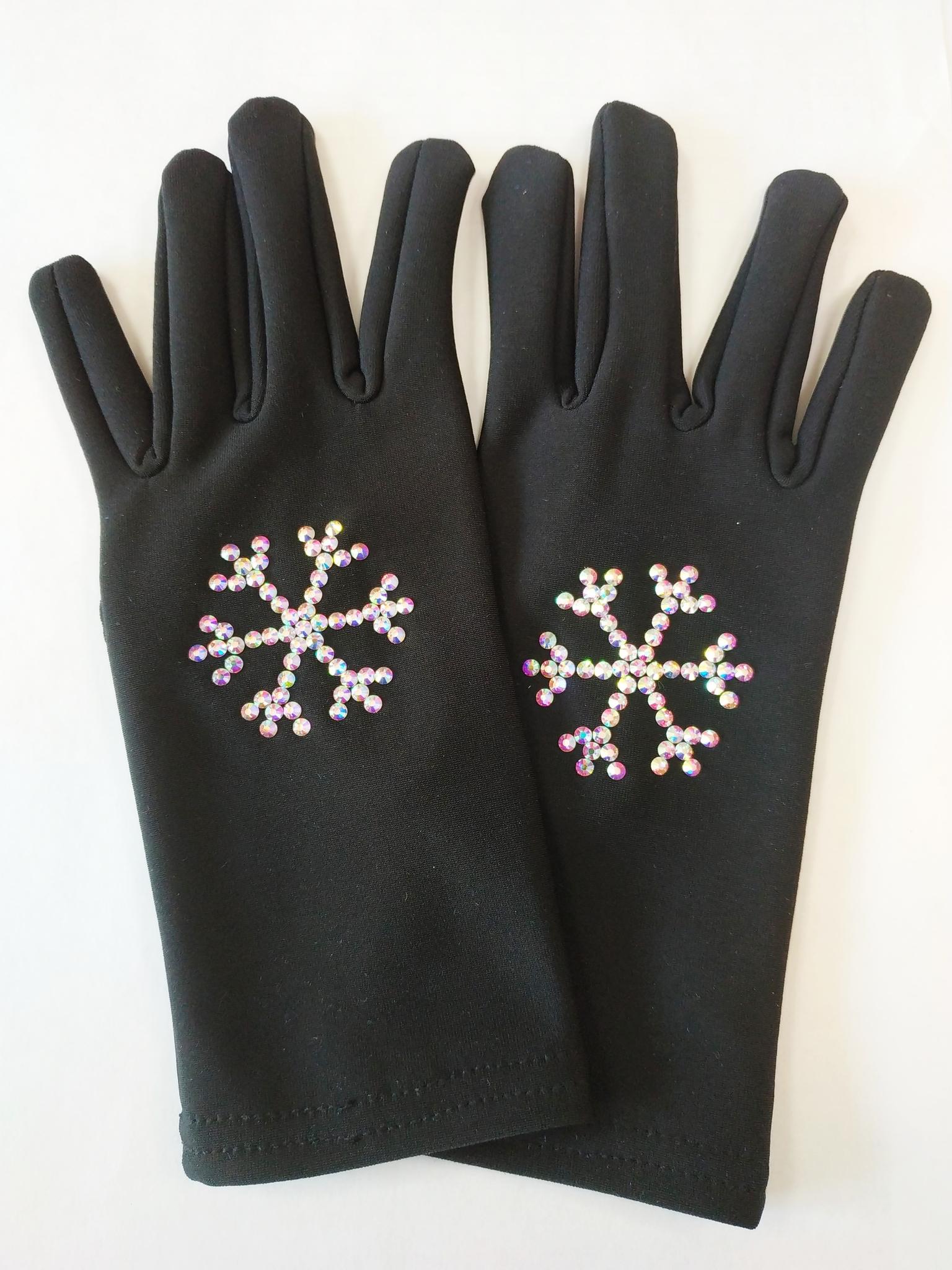 Перчатки из термоткани (снежинки из страз)