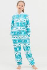 """Детская пижама-комбинезон """"Скандинавские узоры"""" с молнией бирюзовая"""