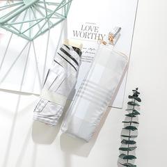Японский миниатюрный плоский зонт с защитой от УФ, 6 спиц (клетка белая/ серая)