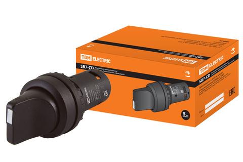 Переключатель на 3 положения с фиксацией SB7-CD33 короткая ручка d22мм 1з+1з черный TDM