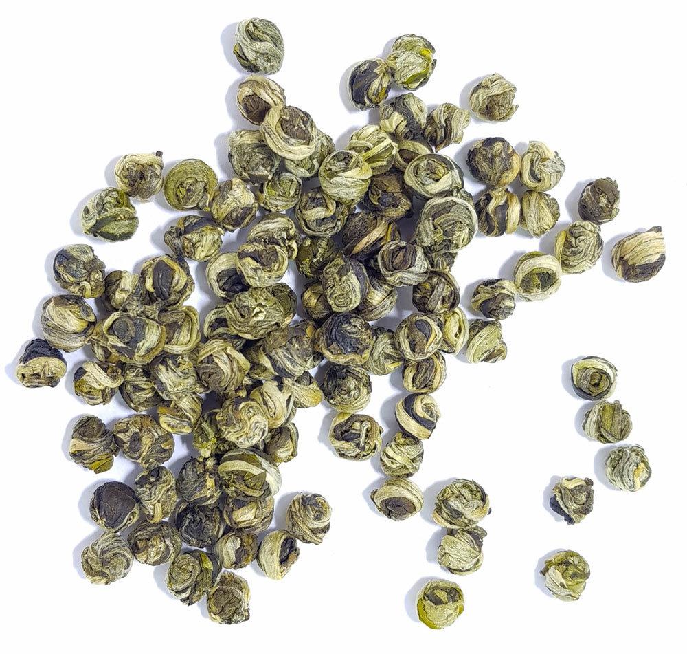Зеленый чай Жасминовые жемчужины дракона с типсами, Моли Хуа Лун Чжу MoliLunZhu1.jpg
