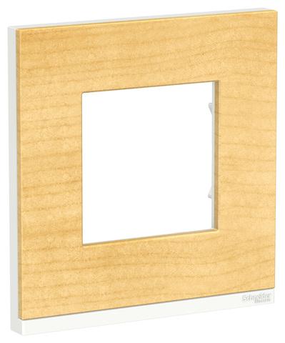 Рамка на 1 пост, горизонтальная. Цвет Клен/белый. Schneider Electric Unica Pure. NU600283