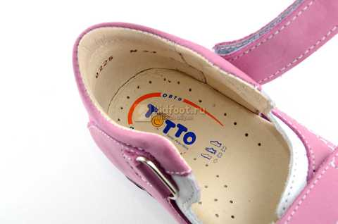 Босоножки Тотто из натуральной кожи с открытым носом для девочек, цвет сирень белый. Изображение 12 из 12.