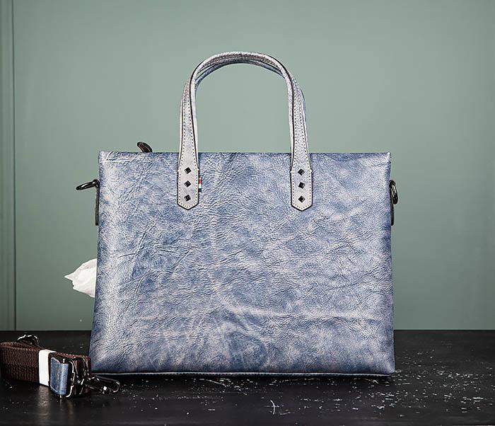 BAG510-3 Портфель из натуральной кожи синего цвета