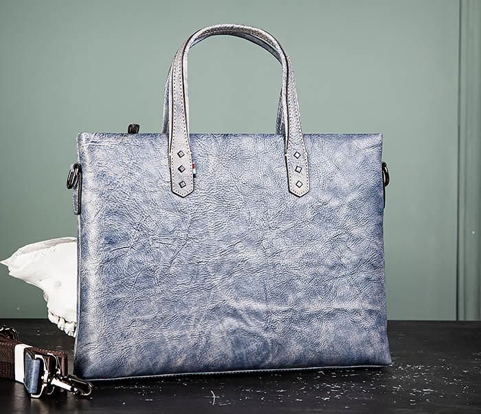 BAG510-3 Портфель из натуральной кожи синего цвета фото 02