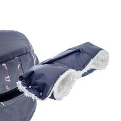 Муфта для коляски Farla Basko серая с белым мехом