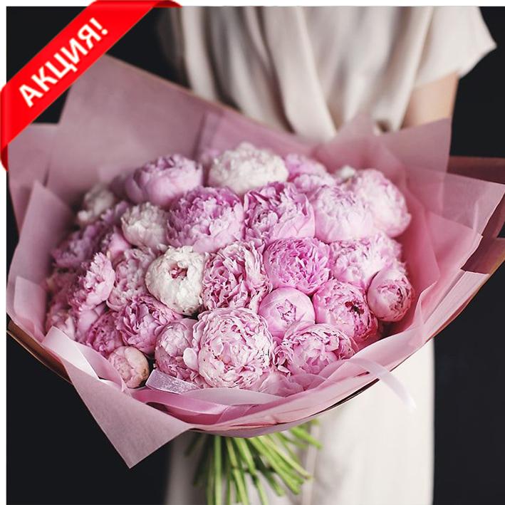 Купить букет 39 розовых пионов Сара Бернар в Перми