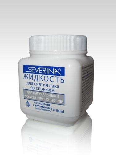 Жидкость для снятия лака без ацетона с поролоновой губкой, 100 мл SEVERINA
