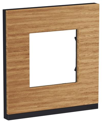 Рамка на 1 пост, горизонтальная. Цвет Дуб/антрацит. Schneider Electric Unica Pure. NU600284