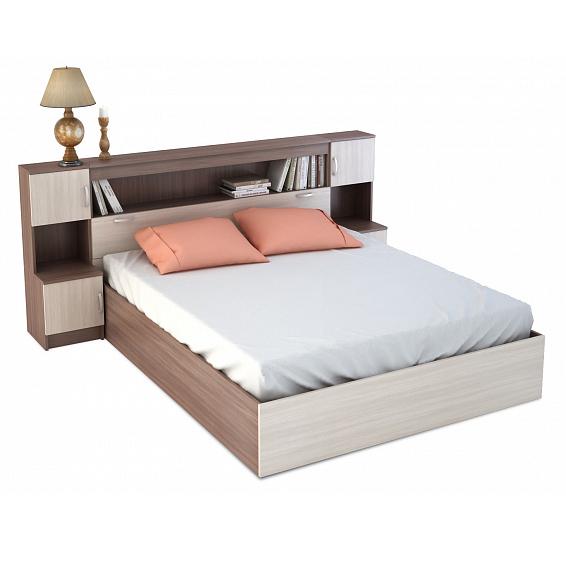 Кровать с закроватным модулем КР-552 Ясень Шимо темный / Ясень Шимо светлый