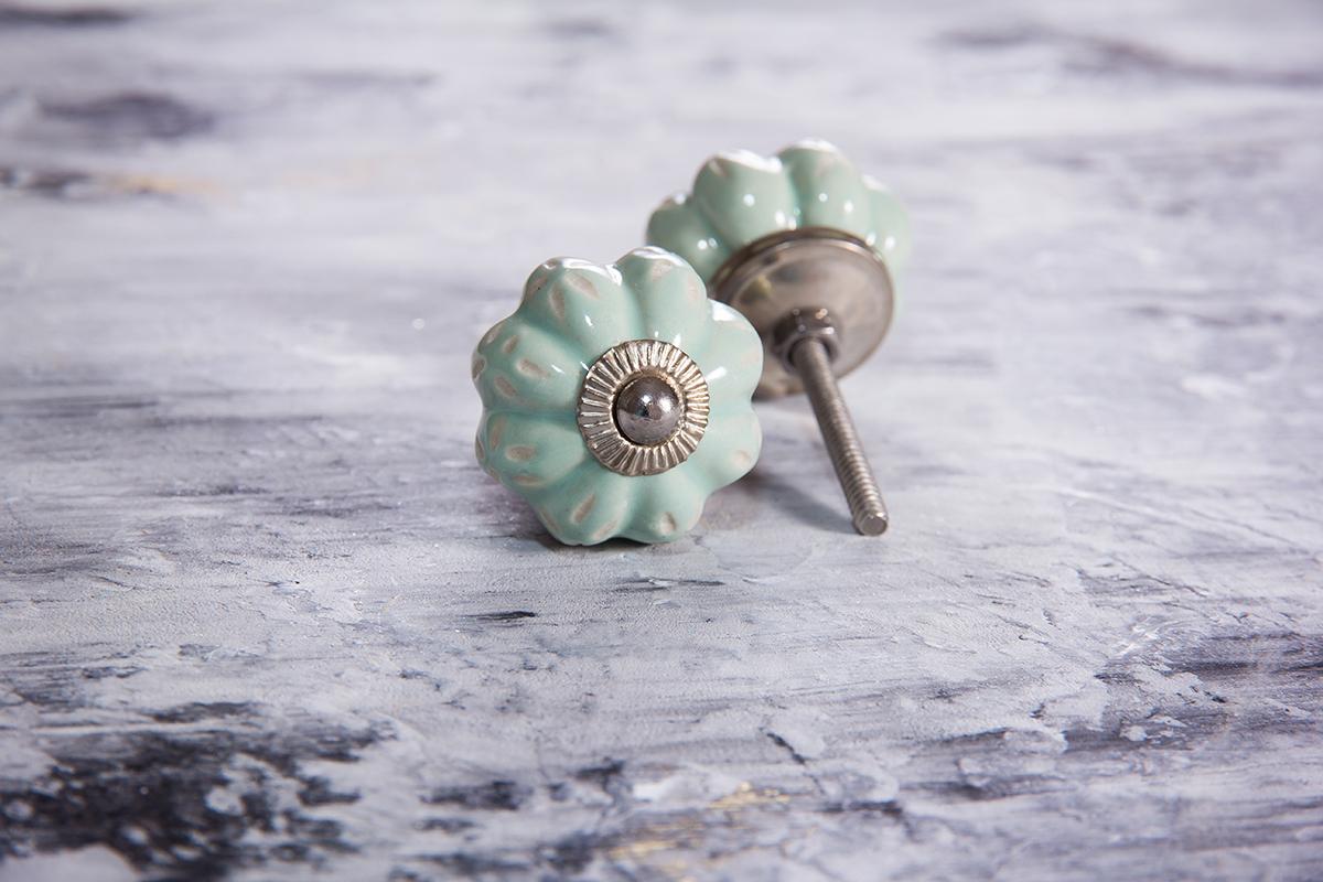 Ручка мебельная керамическая мятная с цветочным узором, арт. 00001056