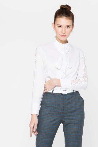 Фото белая блузка с бантом и кружевными вставками на рукавах - Блуза Г689б-736 (1)