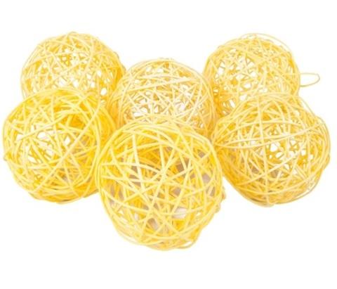 Плетеные шары из ротанга (набор:6 шт., d10см, цвет: желтый)