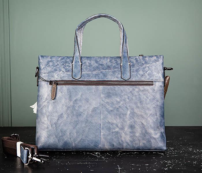 BAG510-3 Портфель из натуральной кожи синего цвета фото 07