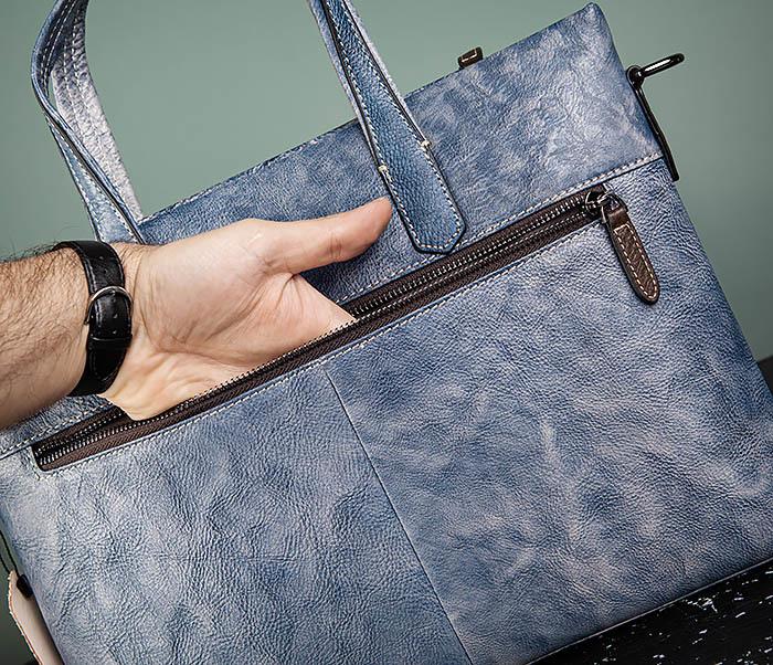 BAG510-3 Портфель из натуральной кожи синего цвета фото 08