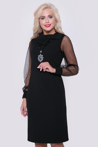 """В этом очаровательном платье Вы будете чувствовать себя королевой!  Приталенный силуэт, рукав длинный с манжетом из сетки - стрейч. Ворот """"хомут"""". Длина платья: 100 см"""