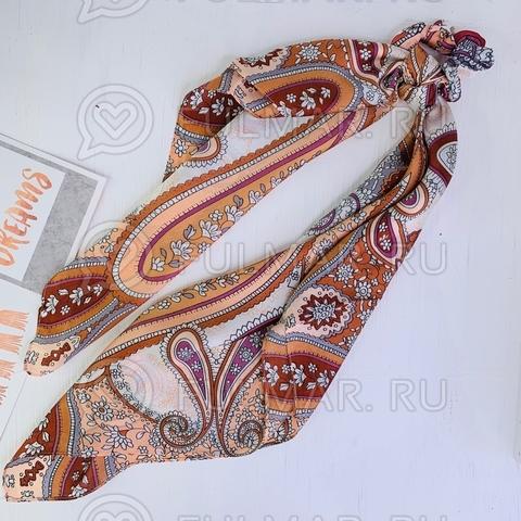 Платок с резинкой модный аксессуар для волос Карамель (цвет: кофейный)