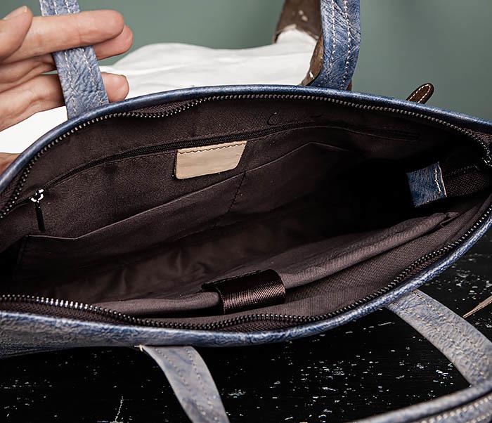 BAG510-3 Портфель из натуральной кожи синего цвета фото 09