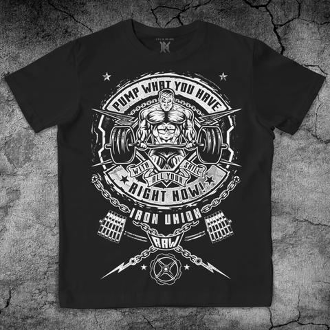 Купить хлопковую футболку Iron Union цвет черный для пауэрлифтинга, для зала, фитнеса, стиль жизни
