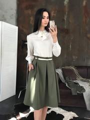 Маркиза. Красивая блуза с бантом. Молоко
