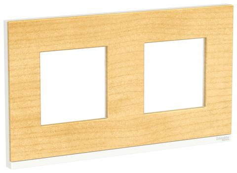 Рамка на 2 поста, горизонтальная. Цвет Клен/белый. Schneider Electric Unica Pure. NU600483