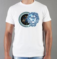Футболка с принтом Знаки Зодиака, Лев (Гороскоп, horoscope) белая 0039