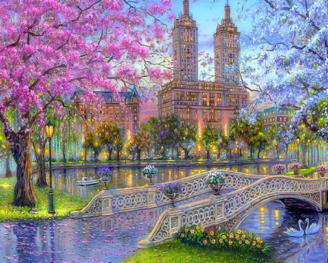 Алмазная Мозаика 40x50 Вид на городские здания через мост
