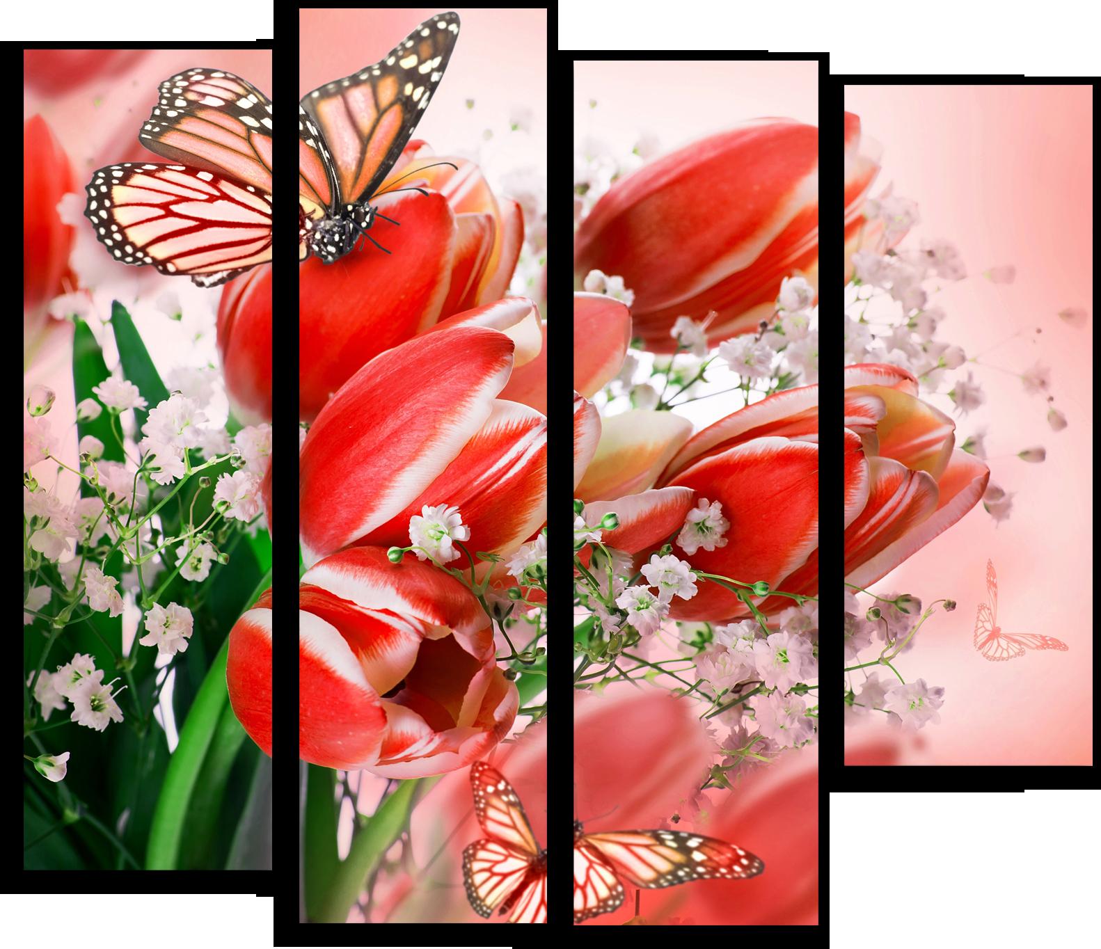 """Модульные картины Модульная картина """"Красные тюльпаны"""" М70.png"""