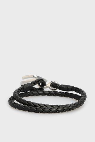 Мужской черный кожаный браслет A-BRUNY Diesel