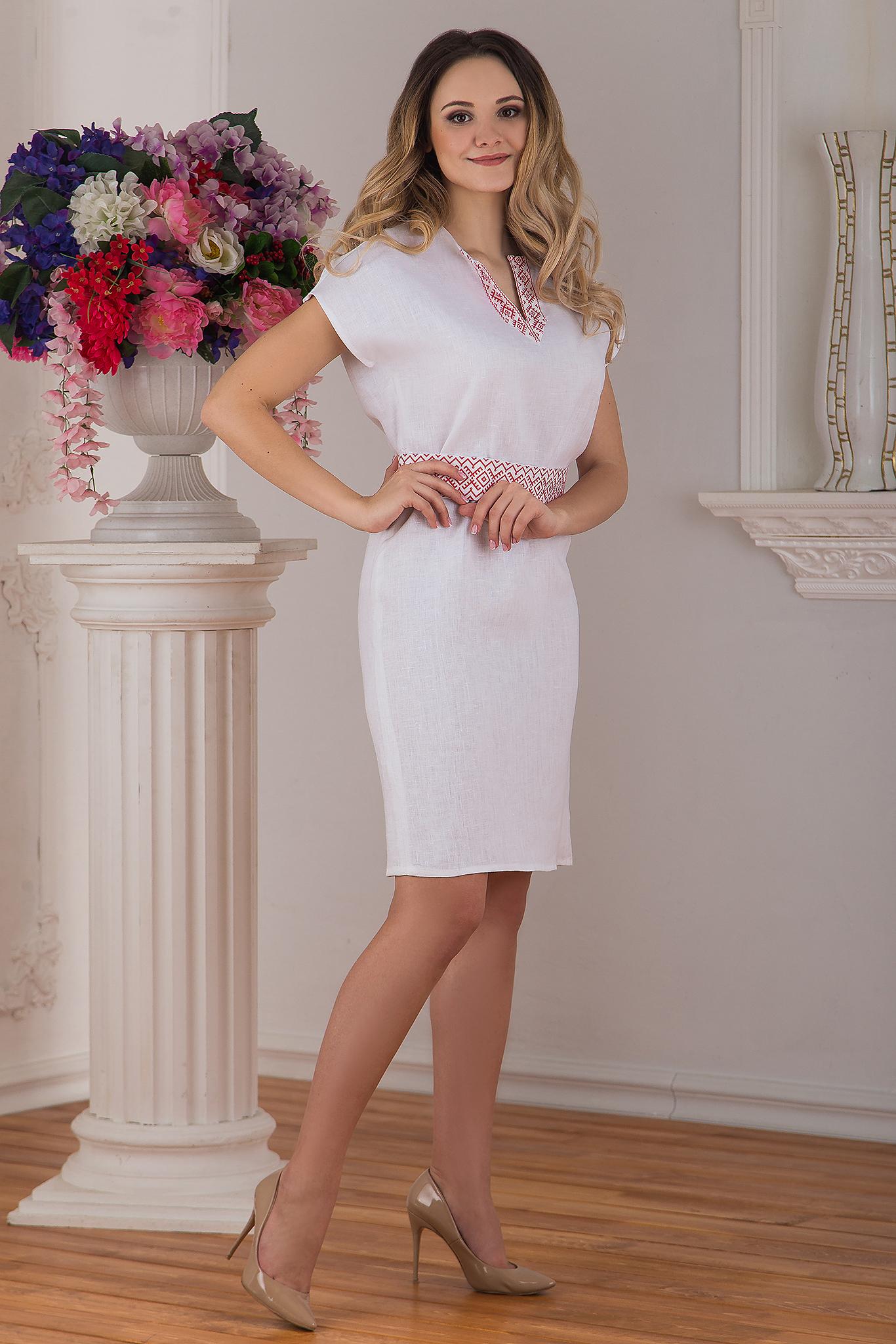 Платье льняное современное белое купить магазин Иванка вид сбоку