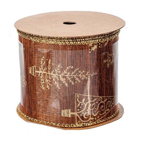 Лента декоративная с ёлочкой, (размер:60мм х 3м) цвет: коричневый/золотой