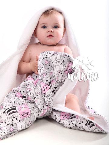 рушник для новонароджених з рожевими котиками фото