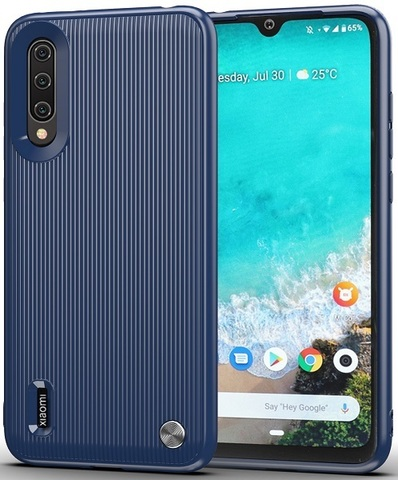 Чехол Xiaomi Mi A3 (CC9E) цвет Blue (синий), серия Bevel, Caseport