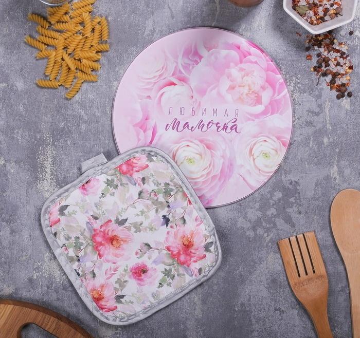 Многофункциональная кухонная доска и прихватка Любимая Мамочка, 20 см фото