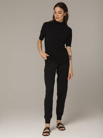 Черные брюки из шёлка и кашемира спортивного силуэта - фото 2