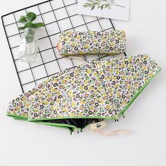 Японский плоский маленький зонт фирмы Yoco с защитой от солнца (зеленый с цветочным принтом)