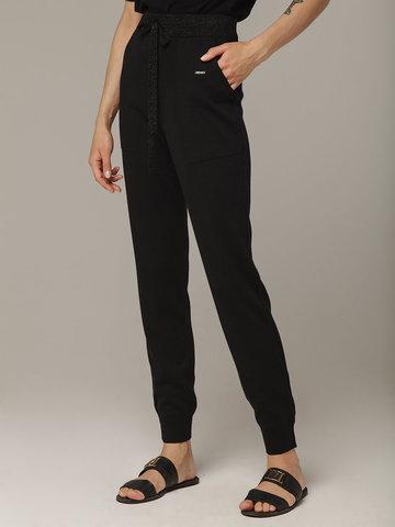 Черные брюки из шёлка и кашемира спортивного силуэта - фото 4