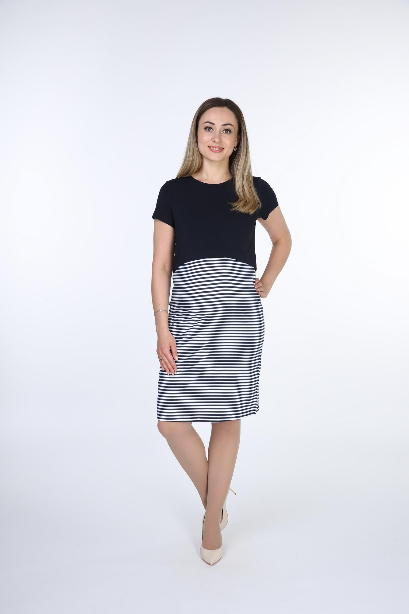 Фото платье для беременных Magica bellezza от магазина СкороМама. синий, белая полоса, размеры.