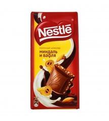 Nestle шоколадная плитка Молочный миндаль вафля 90г