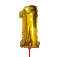 Цифра 1 (35 см) на палочке золотая