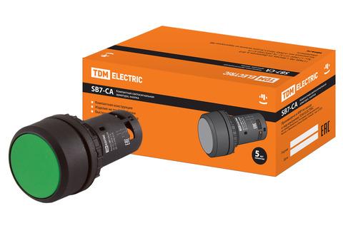 Кнопка с фиксацией SB7-CAL35 d22мм 1з+1р зеленая TDM