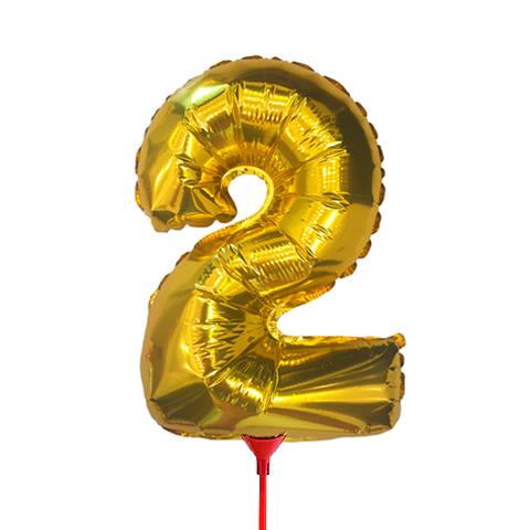 Цифра 2 (35 см) на палочке золотая