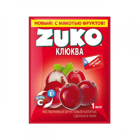 Растворимый напиток Zuko Клюква (блок 12 пакетов)