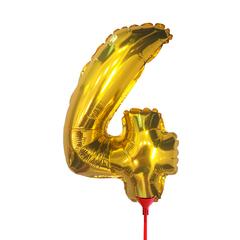 Цифра 4 (35 см) на палочке золотая