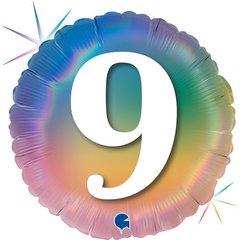 Г Шар (18''/46 см) Круг, 9 Цифра, Радужный, Голография, 1 шт.