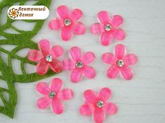 Декор ярко-розовый цветочек со стразиной