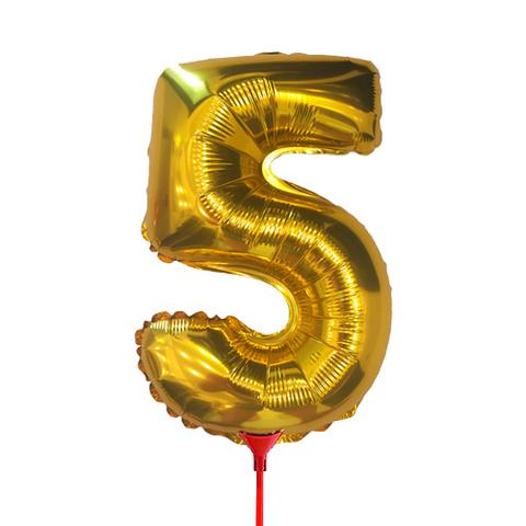 Цифра 5 (35 см) на палочке золотая